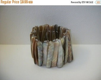 ON SALE Vintage Shell Abalone Stretch Bracelet 908