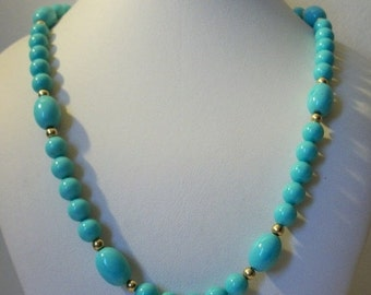 ON SALE Vintage Single Strand Turquoise Tone Gold Spacer Plastic Beads Necklace 1625