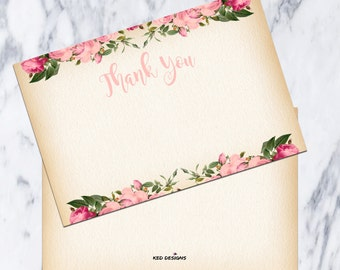 Thank You Card-Printable-DIY-Instant download-Floral-Baptism-Vintage-Pink-Girl-Blank-Dedication-Party-Christening