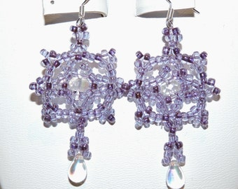 Beaded Earrings,Beadwork Purple Earrings