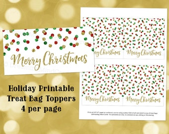 Printable Merry Christmas Holiday Treat Bag Toppers Red Green Gold Glitter Confetti Instant Digital Download Favor Bag Labels