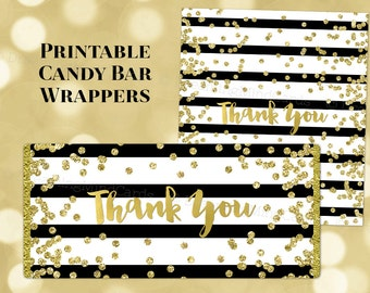 Printable Candy Bar Wrapper Labels Thank You Black Stripes Gold Confetti Birthday Wedding Baby Shower Bridal Shower Digital