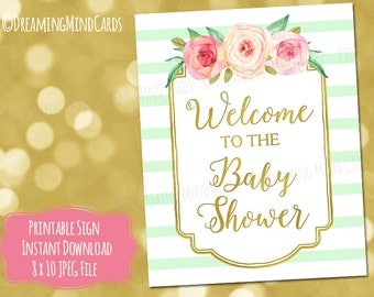 Printable Welcome to the Baby Shower Sign 8x10 and 4x6 Pink Watercolor Flowers Gold Mint Stripes Baby Shower Digital Download