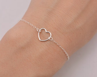 Sterling Silver Heart Bracelet, Open Heart Bracelet, Tiny Heart, Valentines Day Gift for Her 0375