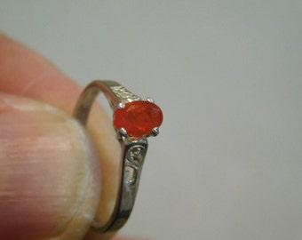 Vintage Sterling Silver Natural Oval Cut Garnet Ring Size {5.25)