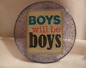 magnet, perfectresin, blue magnet, boys magnet, boys will be boys magnet, kitchen decor, kitchen items,boy resin magnet, boys decor (218)