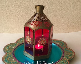 Beautiful henna decorated lentern, tea lifgt holder/ wedding centerpiece/ wedding decor/ home decor/ one of a kind