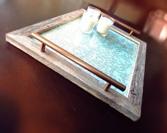 Elegant Serving Tray, Rustic Wood Frame With Metallic Gold Floral Print 16x13