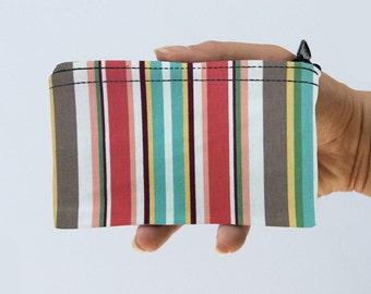 Striped Little Zipper Pouch - Stripes Coin Purse - Gadget Case Padded