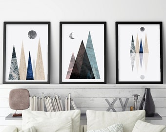 Set of 3 downloadable prints Instant download of modern Scandinavian Mountains Minimalist poster Contemporary wall art Affiche Scandinave