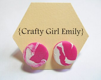 Clay earrings studs, pink & white marble, surgical steel posts, handmade for sensitive ears.