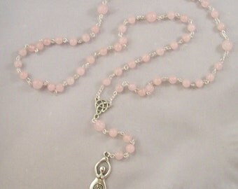 Rose Quartz Prayer Beads, Rosary, Meditation Beads, Gratitude Ritual Beads, Pagan Prayer Beads, Rose Quartz Jewelry, Angelminks, Goddess