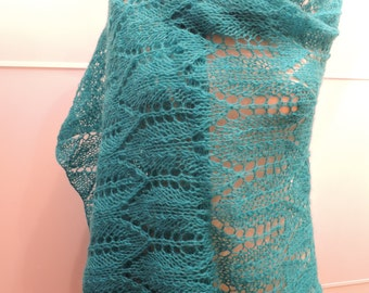 Hand knitted Blue, Aqua, Turquoise Lace knit shawl, stole