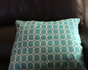 Throw pillow embroidery teal