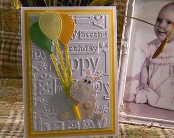 Happy Birthday Hippo Greeting Card, Happy Birthday Card, Girl or Boy Birthday Card, Embossed Greeting Card, Handmade Greeting Cards