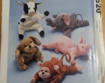 Sewing pattern McCall's 626 Bean bag animals new uncut