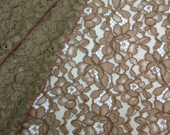 Brown Lace Fabric,Brown Lace,Brown Chantilly Lace,Brown Alencon lace,Brown Lingerie Lace,Brown French Lace,Embroidery lace K00175