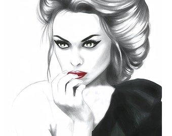 print from original watercolor fashion illustration, fashion illustration sketch,fashion art, fashion print,girly sketch, Allegra