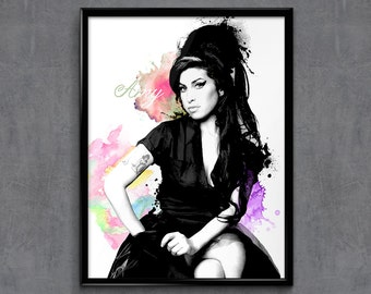 Amy Winehouse - Amy Winehouse Art - Amy Winehouse Poster - Amy Winehouse Print - Personalities Portraits - Wall Art Prints