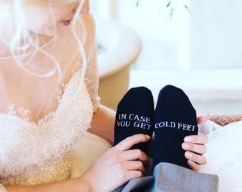 Cold Feet Socks - Groom Socks - Funny Wedding Socks - In Case You Get Cold Feet - Bachelor Party Gift - Grooms Wedding Socks - Funny Socks