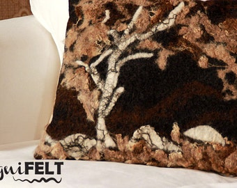 Felted decorative pillow of exclusive pillow is handicraft from Gotland wool. Wool Felt Pillow, Brown, Natural Fibre Decorative