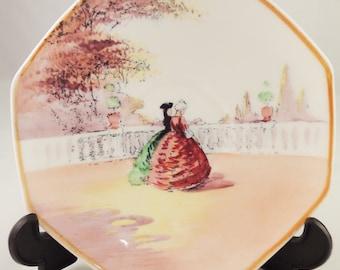 Art Deco Royal Doulton OLD ENGLISH GARDENS Square saucer - 1920s China - Romantic 1800s - H7873