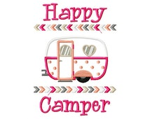 Happy Camper embroidery design, camping embroidery design, summer embroidery design, camper embroidery