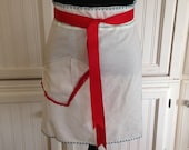 Vintage up-cycled half apron embroidered shabby chic
