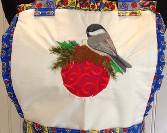 Vintage full apron shabby chic red moda towel cotton blue yellow red print embroidered Christmas bird