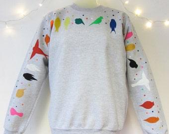 Hand Painted Birds Sweatshirt