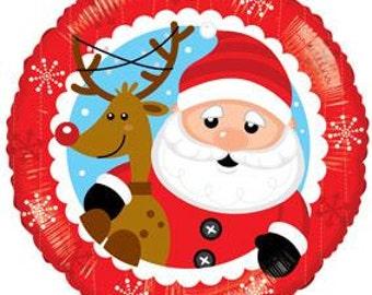 Santa and Rudolph Balloon, Christmas Decoration, Holiday Decor, Holiday Balloon, Christmas Day, Party Decorations, Christmas Balloon