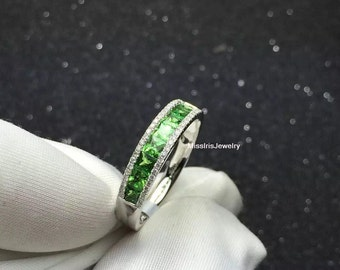Tsavorite Engagement Band Ring