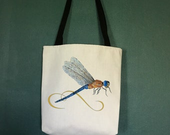 Unique Beach Tote Bag with Dragon Fly Design, Designer Beach Bag, Water Resistant Tote Bags