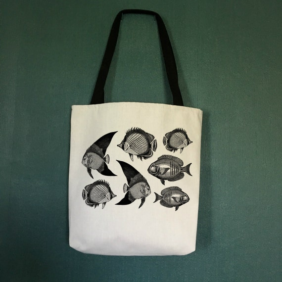 Beach tote bags with fish designer beach bag beach theme for Designer beach bags and totes