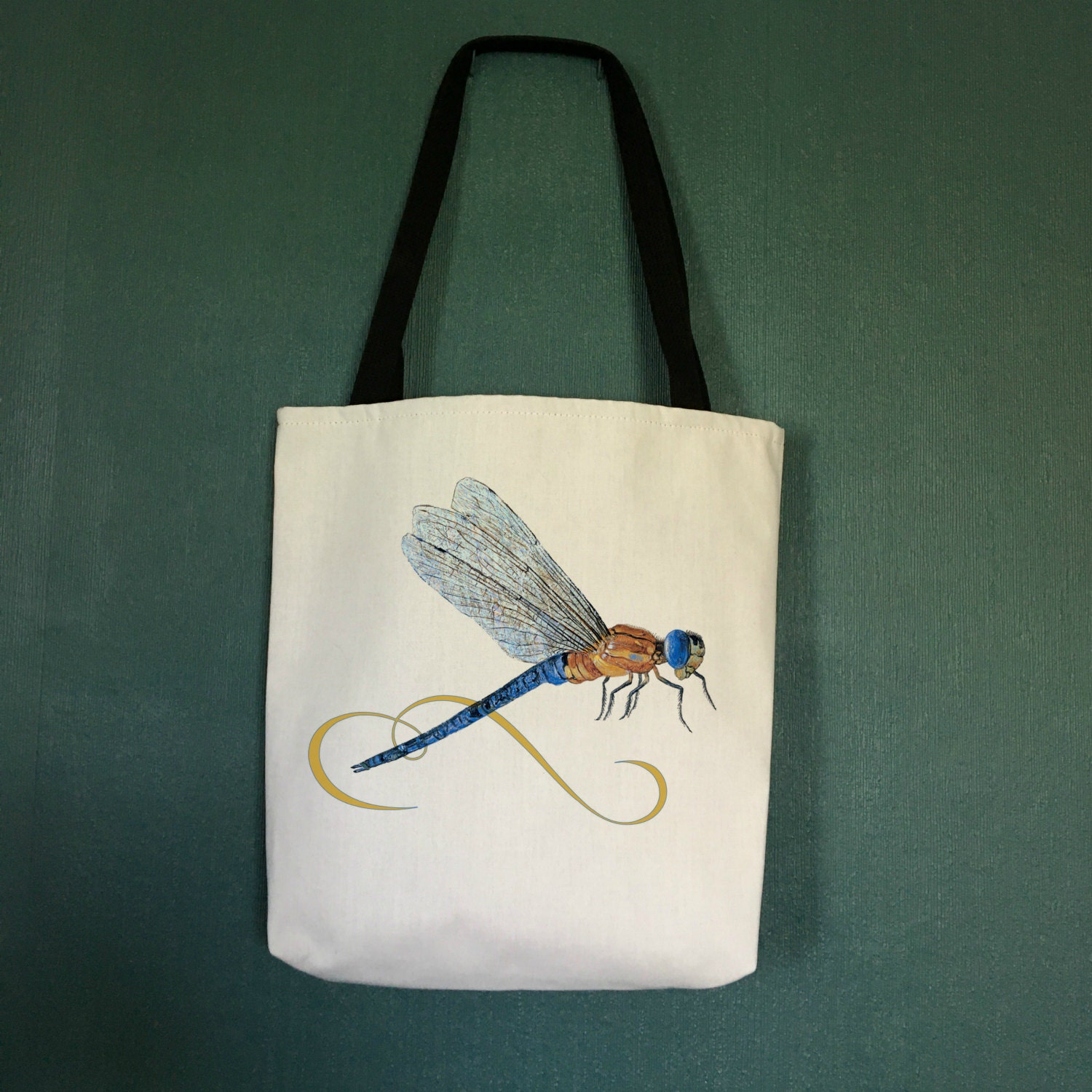 Unique Beach Tote Bag with Dragon Fly Design, Designer Beach Bag ...