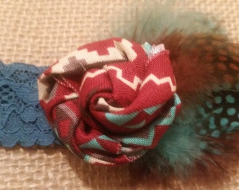 Baby lace headband girl headband southwestern native American boho you choose size birthday party newborn picture prop teal maroon turquoise