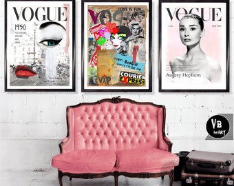 Vogue Posters, Audrey Hepburn,  Set of 3, Fashion Wall Art, Fashion Decor, Vogue print, Marilyn Monroe, Gift For Her, High Resolution Art