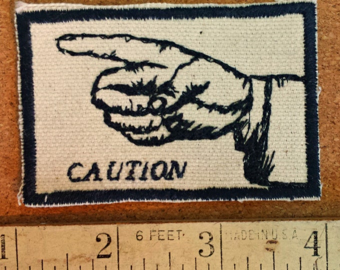 Hand Gesture Embroidered Upcycled Canvas Vintage Graphic Gestures Caution Iron On Jacket Patch