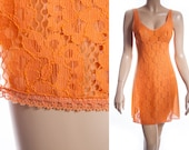 Enchanting 1970's vintage vibrant silky soft flame orange nylon and delicate lace front panel detail full slip petticoat underskirt - S191