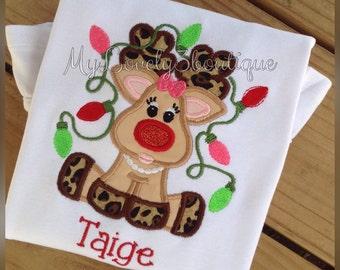 Girls Christmas shirt, Christmas reindeer shirt, Girls Reindeer shirt, Girls winter shirt, Custom Christmas shirt