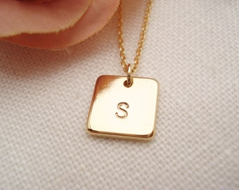 Initial Necklace...Gold personalized jewelry, square disc, bridesmaid gift, flower girl, simple everyday, bridal jewelry