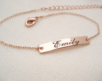Personalized Bracelet...Engraved rose gold Bar, custom jewelry, sorority, best friend gift, wedding, bridesmaid gift, Coordinates