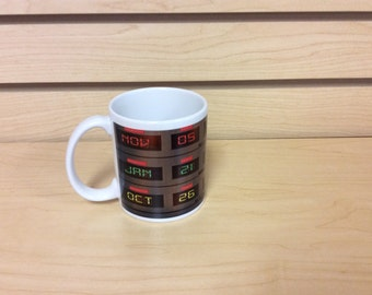 Back To The Future Time Clock Dash Delorean Coffee/Tea 11oz mug. bttf prop