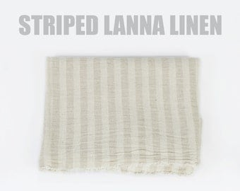 100% Organic Striped Linen Blend - Natural Soft Linen & Cotton Fabric, Organic Fabric, Natural Fabric Cream Fabric Light Stripe Thai Textile