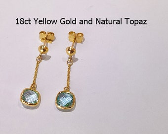 18ct 18K 750 Yellow Gold Natural Topaz Stud Earrings Jewellery - PS46