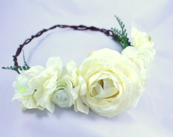 Rustic white floral crown