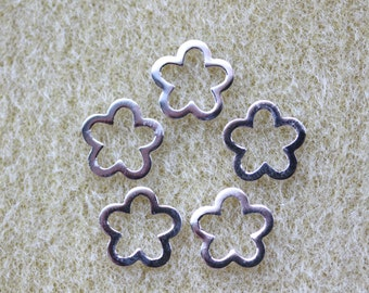 Decorative Flower Sterling Silver Connector Finding 12mm (Five per pack)