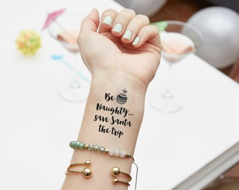 Be Naughty Christmas Temporary Tattoo | Stocking Stuffer | Party Favor | Holiday | Funny Gift