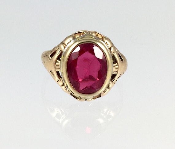 Antique La s Synthetic Ruby Pinky Ring Vintage 1900s 14K