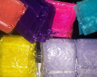 Organza Bags 3x4 FREE SHIPPING in pks of 12, 24, 50, 100 Great for Jewelry, Party Favors, Sachets, Gifts, Etc. New Colors!